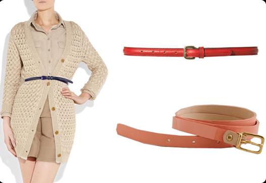 .Shiny Belt + Layered Cardigans