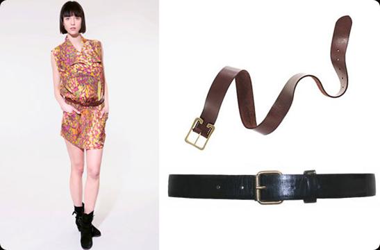 Leather belt + Loose-Fit Dress