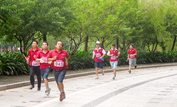 men ran in the front