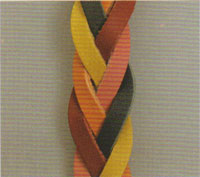 Five-string flat braided leather strap.