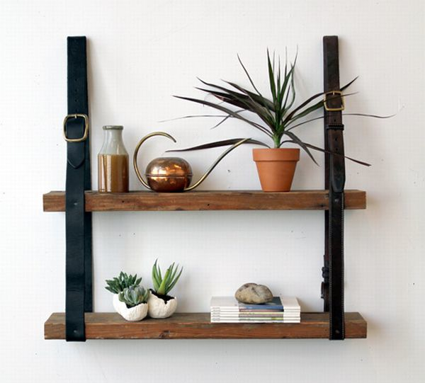 The recycled leather belt wood shelf
